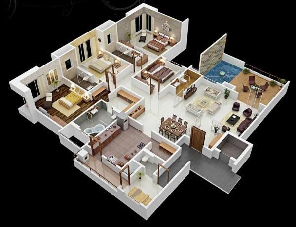 10+ Mẫu Nhà 1 Tầng 4 Phòng Ngủ Đẹp, Giá Rẻ