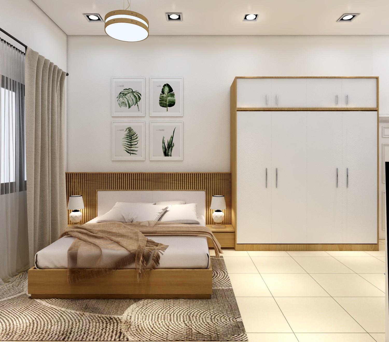 Nội thất gỗ, màu nâu tạo nên mẫu thiết kế nội thất phòng ngủ chung cư 70m2 đẹp hiện đại giá tốt vô cùng ấm áp.