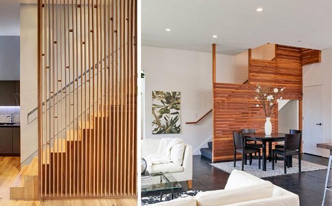 vách ngăn phòng khách và cầu thang đẹp