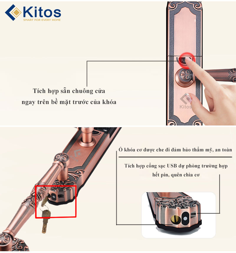 Khóa vân tay Kitos KT-C500 tân cổ điển
